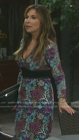 Kate's blue floral lace dress on Days of our Lives