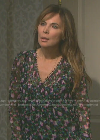 Kate's floral pleated blouse on Days of our Lives