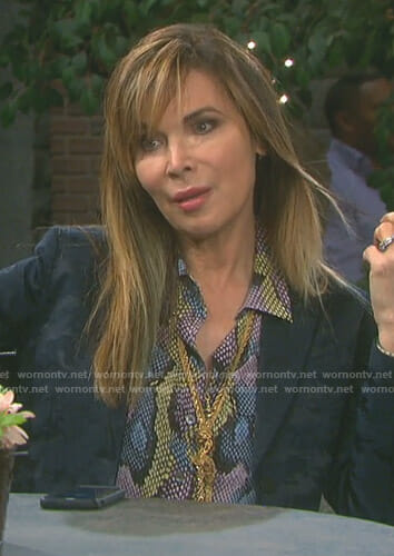 Kate's snakeskin print blouse on Days of our Lives
