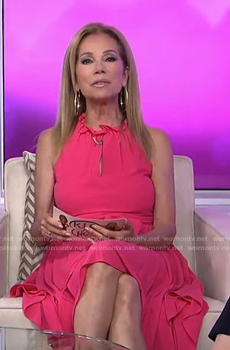 Kathie's pink ruffled neck keyhole dress on Today