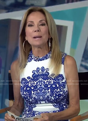 Kathie's white and blue lace printed dress on Today
