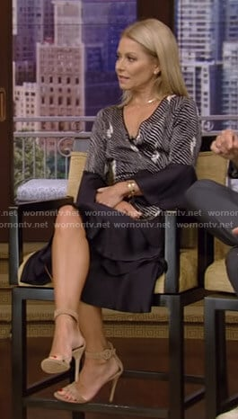 Kelly's navy printed wrap dress on Live with Kelly and Ryan