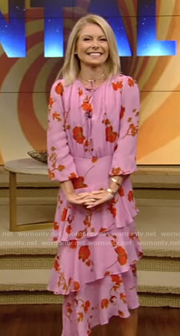 Kelly's pink floral midi dress on Live with Kelly and Ryan