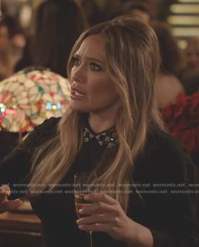 Kelsey's black embellished collar dress on Younger