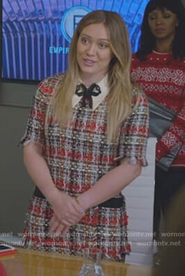 Kelsey's tweed dress with jewel bow on Younger