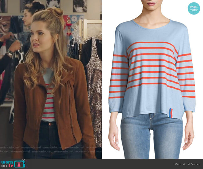 The Malibu Striped 3/4-Sleeve Top by Kule worn by Meghann Fahy on The Bold Type