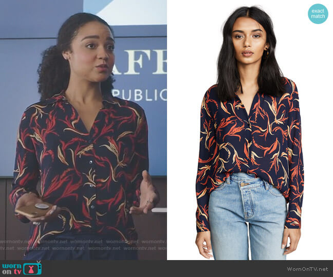Nina Blouse by L'AGENCE worn by Aisha Dee on The Bold Type