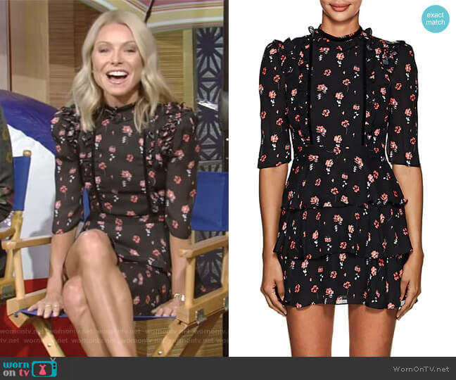 Feroline Floral Silk Dress Laura Garcia  worn by Kelly Ripa on Live with Kelly & Ryan