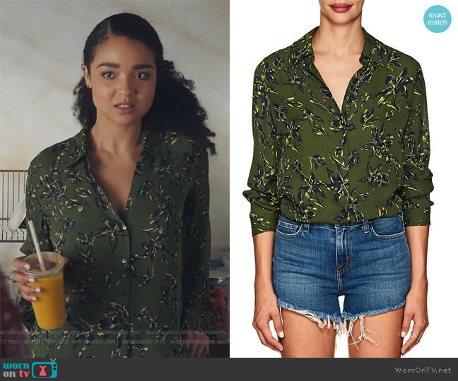 Nina Floral-Print Silk Blouse by L'Agence worn by Kat Edison (Aisha Dee) on The Bold Type
