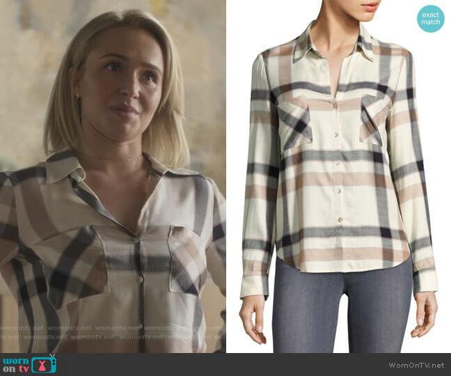 Plaid Long-Sleeve Button-Down Shirt by L'Agence worn by Hayden Panettiere on Nashville
