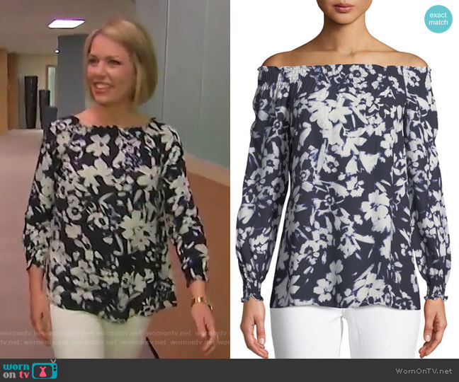 Raelyn Off-the-Shoulder Floral-Print Blouse by Lafayette 148 New York worn by Dylan Dreyer (Dylan Dreyer) on Today