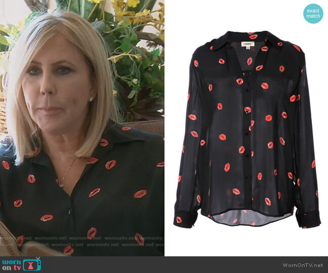 Lip Print Blouse by L'Agence worn by Vicki Gunvalson  on The Real Housewives of Orange County