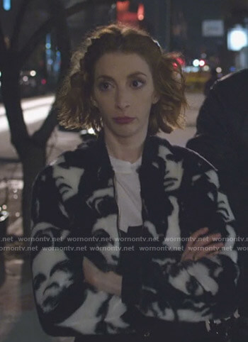 Lauren's face print bomber jacket on Younger