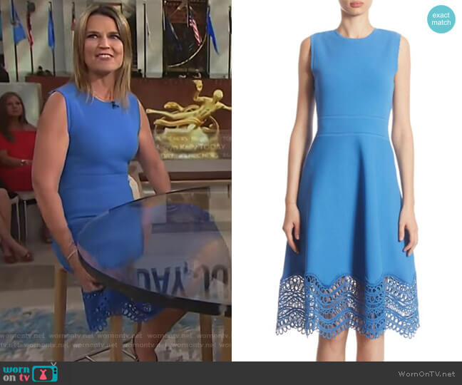 Guipure Lace Dress by Lela Rose worn by Savannah Guthrie on Today