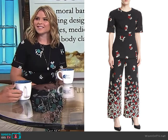 Seamed Peplum Ladder-Stitch Top and Floral Pants by Lela Rose worn by Jenna Bush Hager  on Today