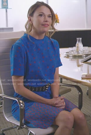 Liza's blue mixed print dress on Younger