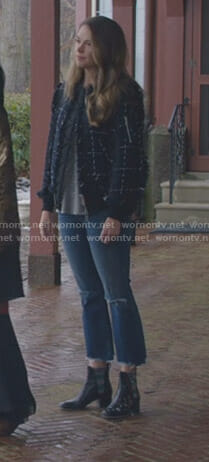 Liza's navy tweed bomber jacket on Younger