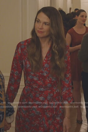 Liza's red floral wrap midi dress on Younger