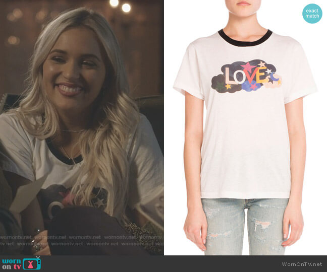 Love T-shirt by Saint Laurent worn by Maddie Jaymes (Lennon Stella) on Nashville