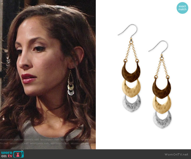 Lucky Brand Tri-Tone Triple Drop Earings worn by Lily Winters (Christel Khalil) on The Young & the Restless