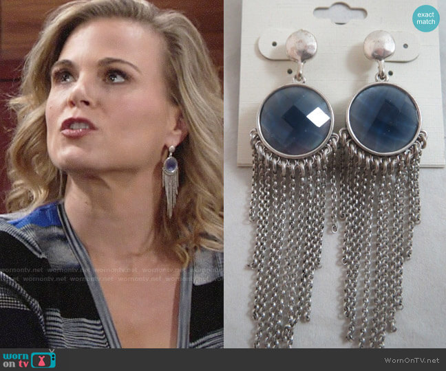 Lucky Brand Reversible Fringe Earrings worn by Phyllis Newman (Gina Tognoni) on The Young & the Restless
