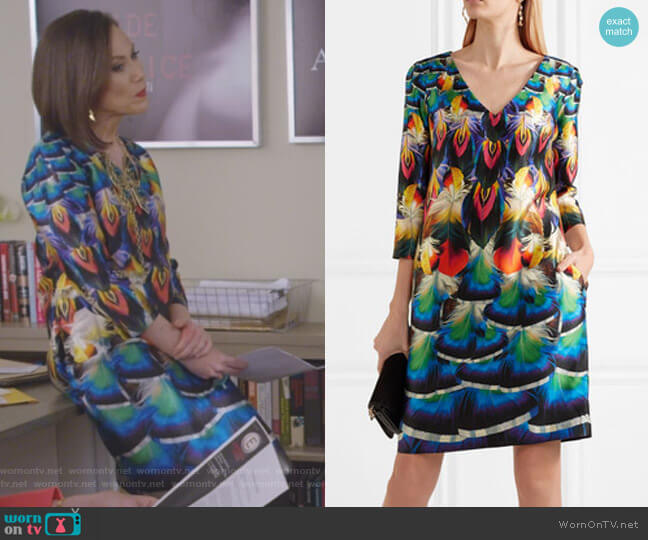 Shea Printed Silk-Faille Dress by Mary Katrantzou worn by Diana Trout (Miriam Shor) on Younger