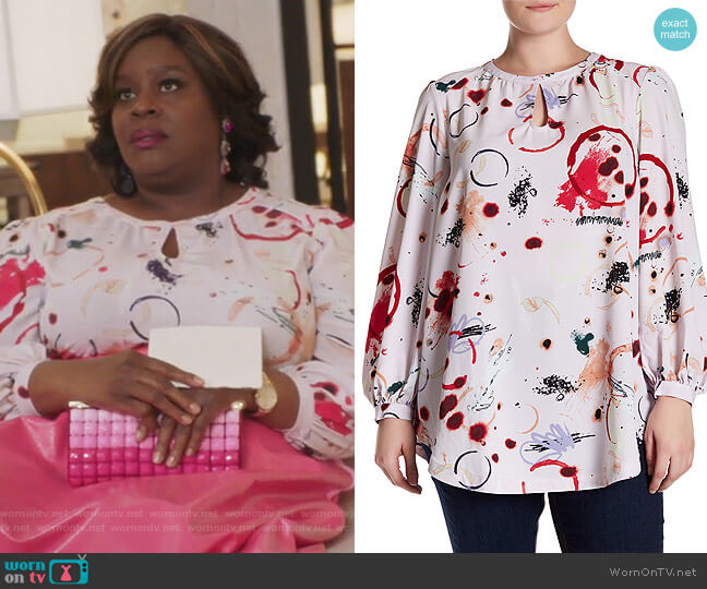 Keyhole Blouson Sleeve Printed Blouse by Melissa McCarthy Seven7 worn by Barbara (Retta) on GG2D