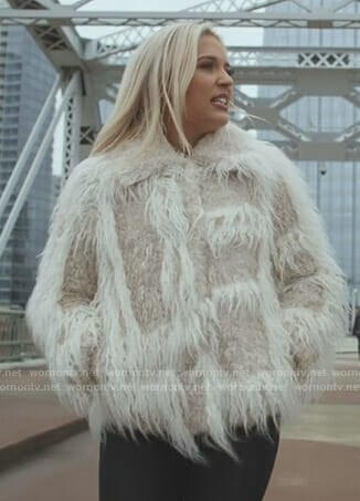 Maddie's cream fur jacket on Nashville