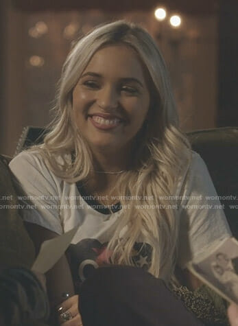 Maddie's white Love graphic tee on Nashville