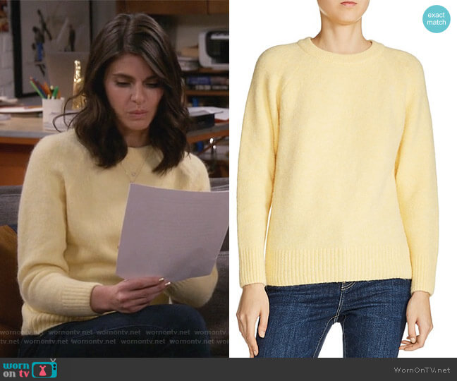 Marla Ribbed-Trim Raglan-Sleeve Sweater by Maje worn by Leslie Curry (Lindsey Kraft) on Living Biblically