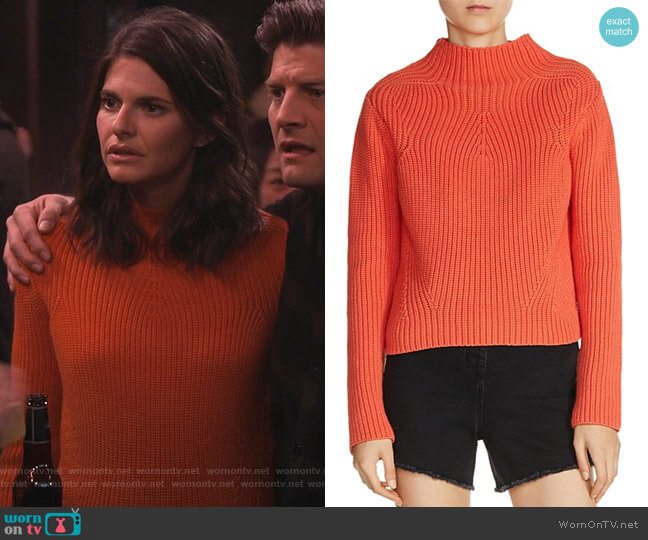 Metal Mock Neck Sweater by Maje worn by Lindsey Kraft on Living Biblically