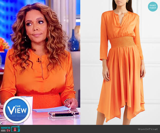 Shirred voile midi dress by Maje worn by Sunny Hostin on The View