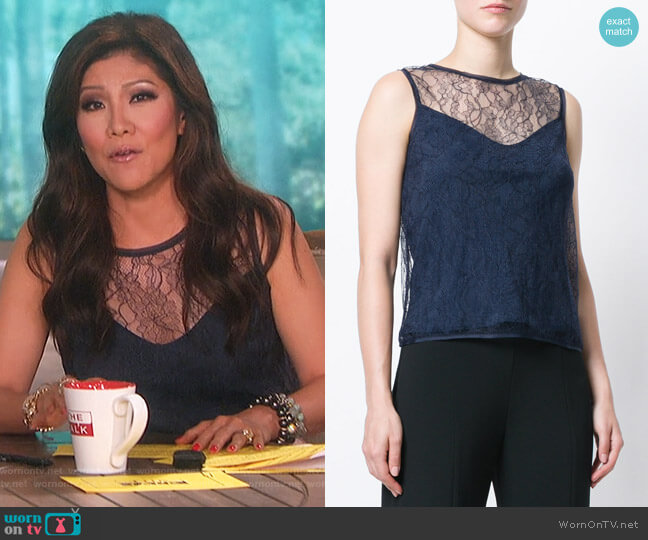 Chantilly lace top by Max Mara worn by Julie Chen  on The Talk
