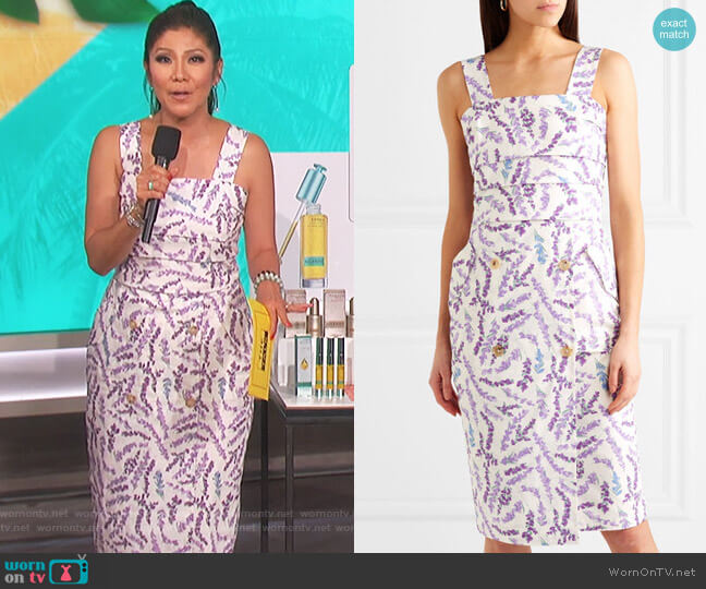 Floral-print cotton dress by Max Mara worn by Julie Chen (Julie Chen) on The Talk