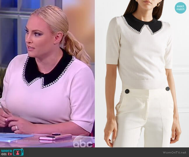 Embellished cashmere sweater by Michael Kors worn by Meghan McCain (Meghan McCain) on The View