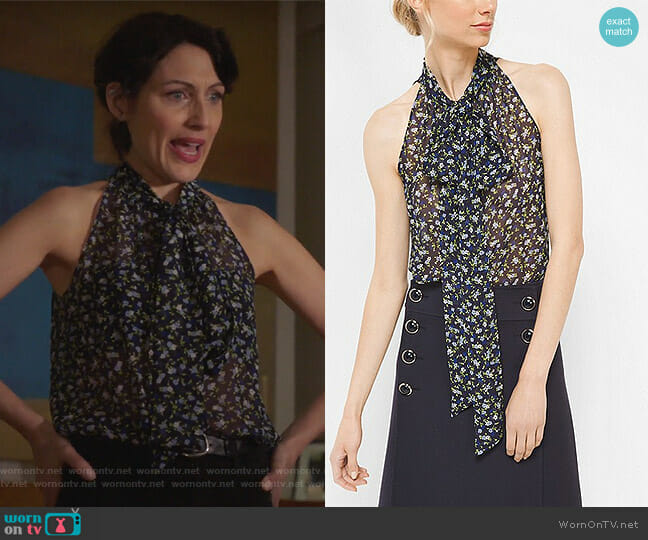 Floral Silk-Georgette Sleeveless Bow Blouse by Michael Kors worn by Abby McCarthy (Lisa Edelstein) on GG2D