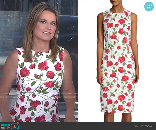 Rose Print Sheath Dress by Michael Kors Collection worn by Savannah Guthrie on Today