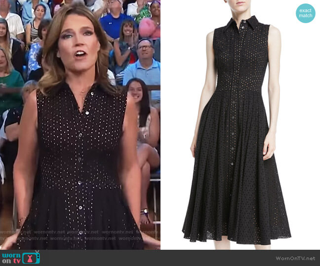 Sleeveless Button-Front Fit-and-Flare Cotton Eyelet Shirtdress by Michael Kors worn by Savannah Guthrie on Today