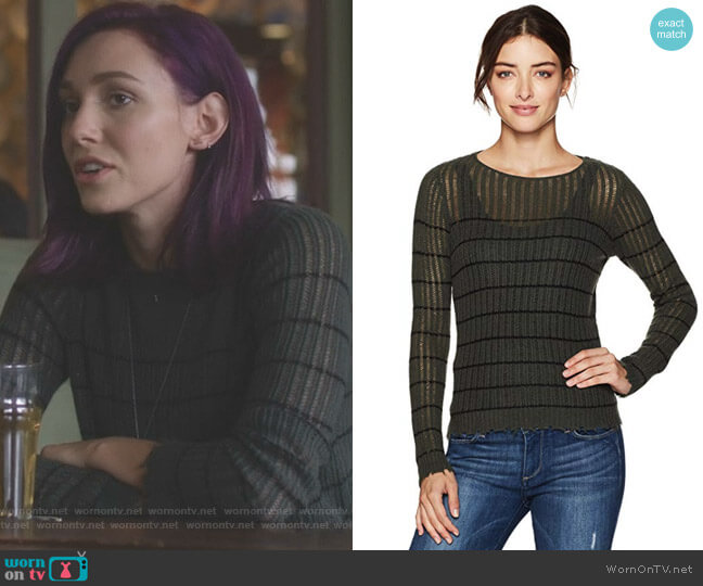 Stripped Distressed Cashmere Sweater by Minnie Rose  worn by Alannah (Rainee Blake) on Nashville