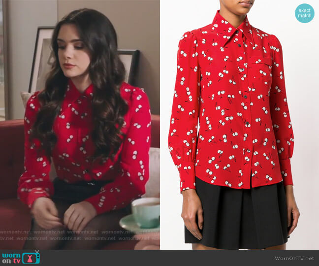 Printed silk shirt by Miu Miu worn by Jane Sloan (Katie Stevens) on The Bold Type