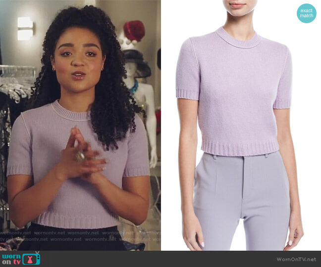 Knit Short-Sleeve Crop Sweater by Miu Miu worn by Aisha Dee on The Bold Type