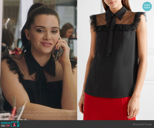 Pussy-bow point d'esprit tulle-paneled crepe de chine blouse by Miu Miu worn by Katie Stevens on The Bold Type
