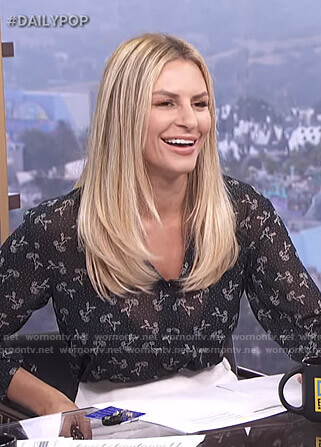 Morgan's black floral chiffon blouse on E! News Daily Pop