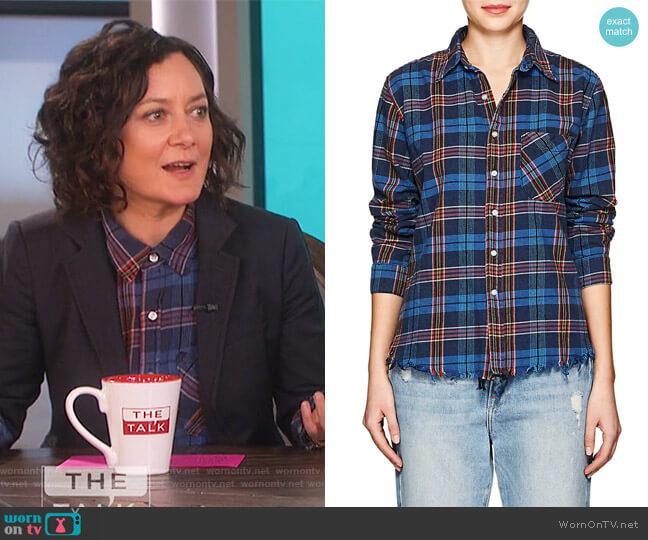 Plaid Cotton Shirt by NSF worn by Sara Gilbert  on The Talk