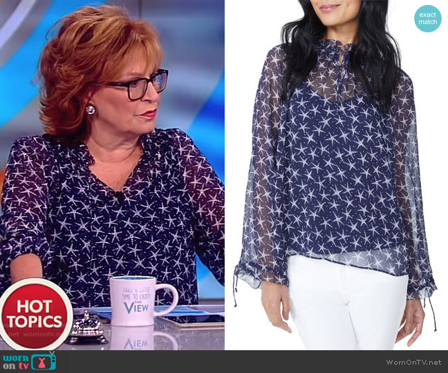 Drawstring Ruffle Print Top by NYDJ worn by Joy Behar  on The View
