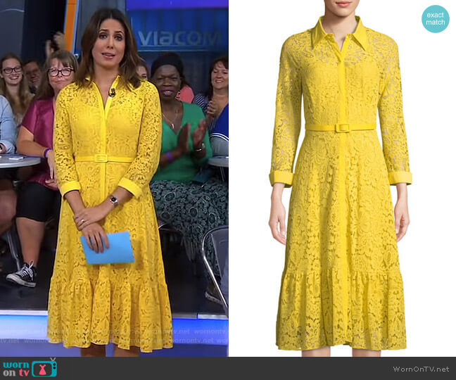 Belted Floral-Lace Illusion Shirtdress by Nanette Nanette Lepore worn by Cecilia Vega on Good Morning America