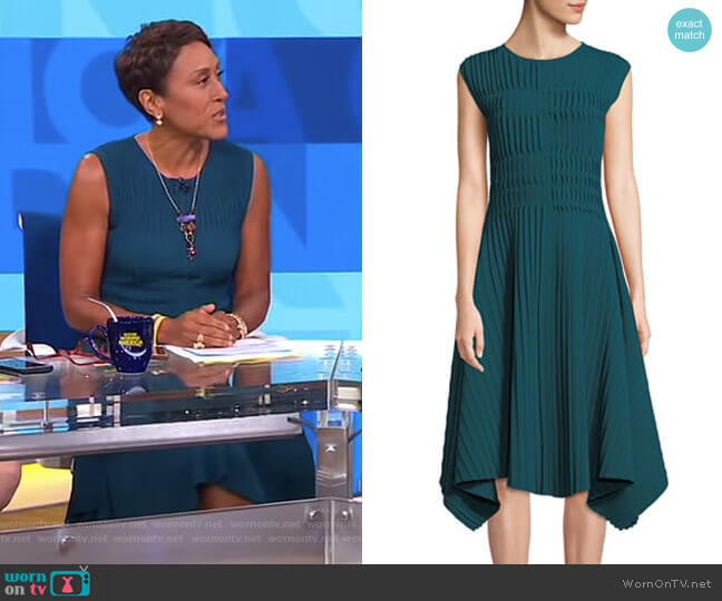 Compact Double Knit Asymmetric Sleeveless Dress by Narciso Rodriguez worn by Robin Roberts on Good Morning America