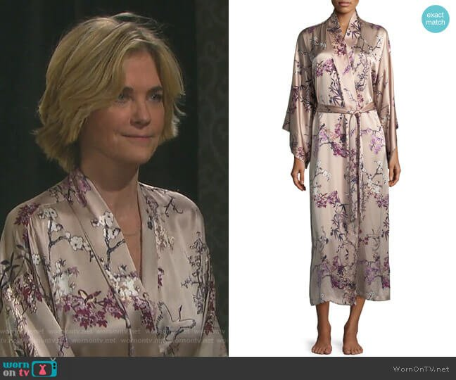 Pandora Long Silk Robe by Natori worn by Eve Donovan (Kassie DePaiva) on Days of our Lives