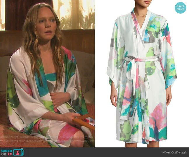 Water Lily Satin Robe by Natori worn by Abigail Deveraux (Kate Mansi) on Days of our Lives