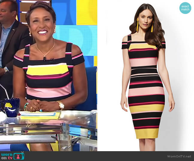 Striped Cold-Shoulder Sheath Dress by New York & Company worn by Robin Roberts  on Good Morning America